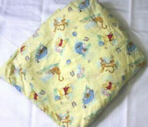 Vintage DIsney Winnie The Pooh Crib Fitted Sheet Baby Nursery Bedding Yellow