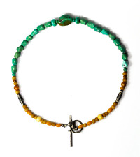 """Sterling Silver Amber 12mm Turquoise Chunky Bead Heart Toggle Necklace 15"""""""