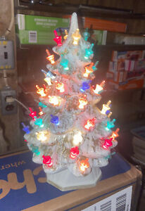 "Vintage HOLLAND MOLD CERAMIC CHRISTMAS TREE White Gold Trim 11"" Lighted WORKS"