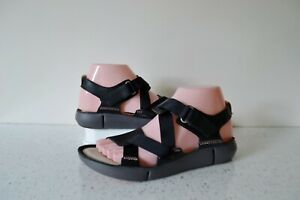 CLARK`S TRI CLOVER BLACK LEATHER TRIGENIC SPORTS INSPIRED SANDALS UK 5D RRP £60