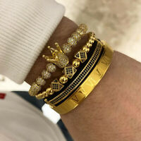 Luxury 18KT Gold CZ Balls Crown Charm Bracelets Set Men Free Cuff Roman Bangle