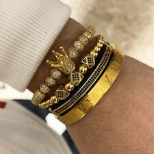 Luxury 18KT Gold CZ Balls Crown Charm Bracelets Set Men Free Cuff Roman Bangle