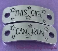 Hand stamped Trainer Tags race shoe lace tags runner gift walking this girl can