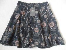 Fat Face Audrey Black Trailing Poppies Viscose Flippy Panel Detail Skirt 8 16 18 18