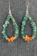 Navajo Turquoise, Spiny Oyster and Sterling Silver Earrings - Native American