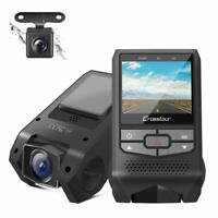 Crosstour Front and Rear Dual Dash Cam FHD 1080P Mini in Car DVR Dashboard