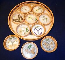 """Vintage Bamboo Butterflies 11"""" Tray and 10 Coasters Glass Bottoms"""
