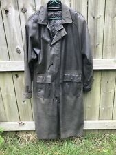 Mens Long Dark Gray Leather Trench Coat Duster