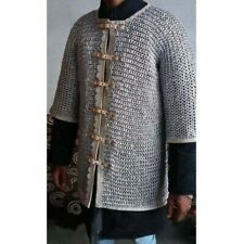 ALUMINIUM RIVETED ANODIZED MEDIEVAL HAUBERK 10 mm chain mail shirt Front open