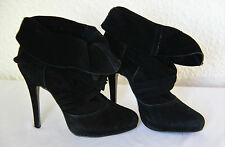 Black Real Suede Leather high heel Ankle Boots by River Island 6