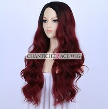 Dark Roots Ombre Burgundy Synthetic Wigs Long Wavy Wig For Women Heat Friendly