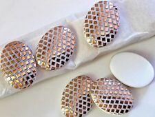 Geometric Cabochons, Minimalist, Vintage Oval Glass, Gold and White, 18x25, B116