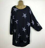 New Blue Vanilla Long Tunic Top Navy Stars Womens Loose UK Plus Size 18 20 22 24