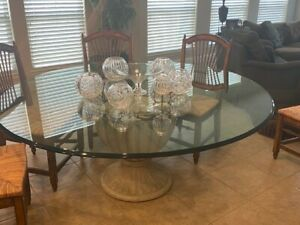 """Henredon Round Glass 72"""" Dining Table"""