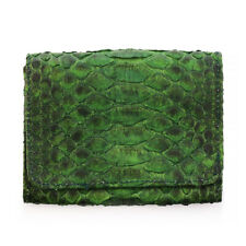 Genuine Snake Python Leather Bifold Credit Card Coin Zip Purse Wallet Green