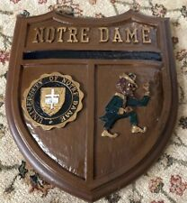 Vintage Notre Dame Shield Wall Plaque Fighting Irish Leprechaun