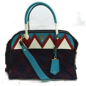 Prada Hand Bag  Navy Blue Nylon 1509068