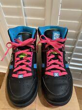 DC Rebound Hi Womens Skateboard Shoes 8 Black Blue Pink