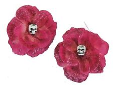 Hairy Scary Pink Glitter Rosie the Reaper Skull Hair Clip Set