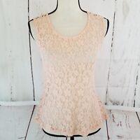 Charlotte Russe Women's Tank Top Sz M Sleeveless Pink Orange Lace Sheer Blouse