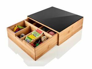Schubladenbox Organizer Teebox Teekiste aus Bambus, 8 Fächer, mit Ausziehstopp