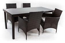 Arona - Set da giardino, 4 sedie e 1 tavolo, in polirattan marrone scuro e vetro