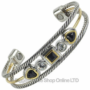 NEW Ladies Magnetic Bangle Black Crystals 2 Magnets Statement Faux Gem Stones