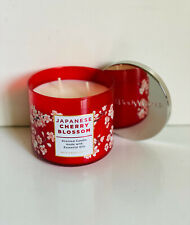 NEW BATH & BODY WORKS WHITE BARN 3-WICK SCENTED CANDLE - JAPANESE CHERRY BLOSSOM