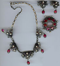 HOBE 1940'S VINTAGE RUBY PINK RED GLASS ENAMEL FLOWERS NECKLACE EARRINGS PIN SET