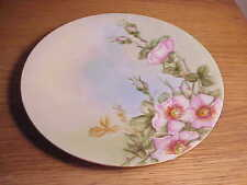 "Vintage Hand-Painted Limoges Porcelain 7"" Display Plate - Lovely Wild Pink Roses"