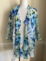 NEW Southern Lady Size 1X Sheer Floral Open Front Top Blouse 3/4 Sleeves