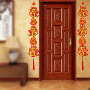 Blessing Wealth Success Gold Red Tassel Chinese Knot Pendants for Spring Festival Decorations Hanging of Car Door Window Wall Home Decor HOWAF 6pcs Chinese New Year Hanging Decorations Ornament