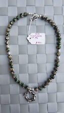 Cloisonné St. Ag with Flowers on Beads & Circle Dolphin Pendant Silver Necklace