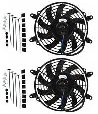 """2X 9"""" inch 80w 12v Universal Elektrisch Lüfter Gegentakt Montage Thermostat Kit"""