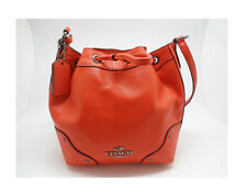 Coach Baby Mickie Orange Grain Leather Drawstring Cross-body Bag NWT 350 MSRP!