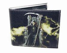 Santa Muerte Print Bi-Fold Leather Men's Wallet
