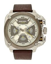 Men's Diesel Bamf Chronograph Leather Strap Watch DZ7343