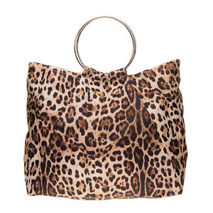 MIA BAG Tote Bag Large Leopard Pattern Metal Round Handles Slouchy Magnetic Snap