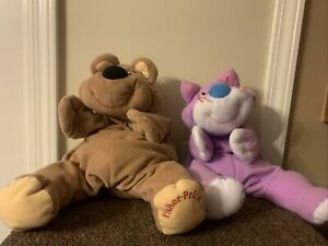 FISHER PRICE 1993 Tan Brown Rumple Bear And Purple kitty  Floppy Plush Soft