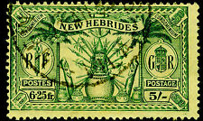 NEW HEBRIDES SG51, 5s ( 6.25fr) green/yellow, FINE USED, CDS. Cat £25.