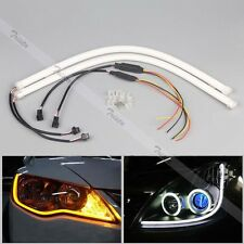 2x 85cm Flexible Soft Tube Car LED Strip White DRL&Amber Turn Signal Light #C3