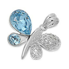 Great Gift! Blue Topaz & Russian Cz Butterfly .925 Sterling Silver Pendant