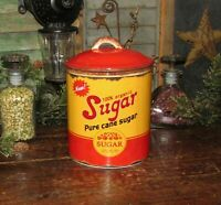 Primitive Antique Vtg Tin Can Style Sugar Canister Stoneware Ceramic Crock AS IS