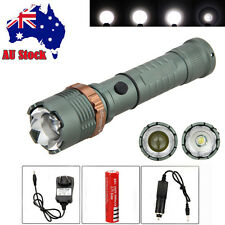 Zoomable 10000Lm XM-L T6 LED Flashlight Torch Hunting Light AC/CAR Charger+18650