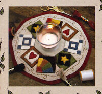 PATTERN - Quilt Block Candle Mat - cute applique candle mat PATTERN