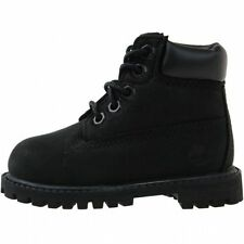"""Timberland 6"""" Premium Toddler 12807 Black Nubuck Infant Boots Shoes Baby Size 8"""