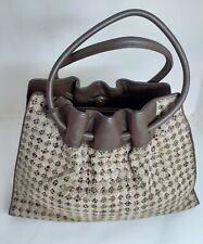TWO NINE COLLECTION Genuine Italian Leather Woven Checkered Brown Bag