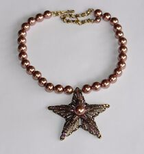 CN Heidi Daus Iridessent Pink Crystals, Faux Brown Luster Pearls STAR Necklace