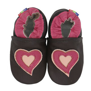 carozoo hearts brown 12-18m soft sole leather baby shoes