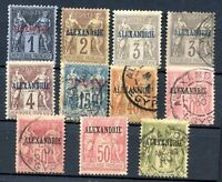 FRANCE ALEXANDRIE, FIRST STAMPS LOT, MH & M no Gum, VF